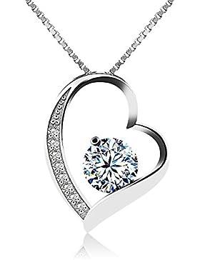 Miya® luxus 925 Sterling Silber Kette Halskette Herz mit weiss Kristall 45cm