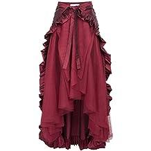 Belle Poque Falda Asimétrica para Mujer Vintage con Volante Gitana Estilo  Gótico Irregular 6a1984286421
