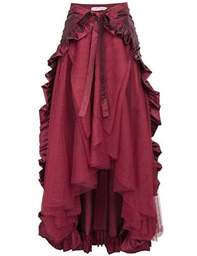 Belle Poque Gonna Gotico Rinascimentale Gonna Medievale Donna Costume Cosplay Principessa XL Vino Rosso