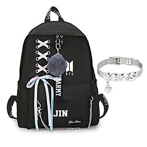 GOTH Perhk BTS Bangtan Boys Love Yourself Answer BTS Rucksack für Frauen Mädchen Canvas Rucksack für Laptop Wandern mit einem BTS-Armband(JIN)