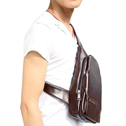 iVotre Brust - Tasche Für Männer Mit Verstellbarer Bügel, Weiche Pu - Leder Schulter Ranzen Mit Bau -, Funktions - Und Modischen Cross - Schwarzen Leichensack coffee