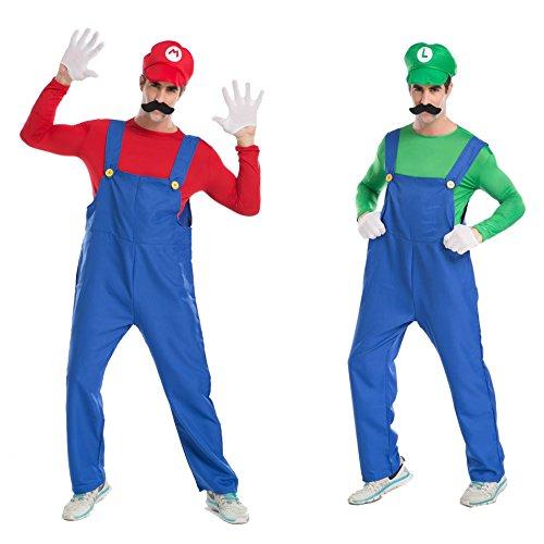 Super Mario Brothers Mario and Luigi set adult Costume Hat with false beard (japan (Kostüm Brothers Super Mario Luigi)