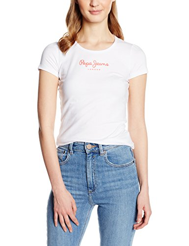 pepe-jeans-new-virginia-t-shirt-uni-manches-courtes-femme-blanc-white-fr-42-taille-fabricant-l