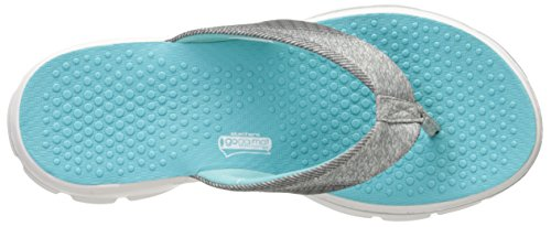 Skechers - Go Walk Nestle, Infradito Donna Gray/Aqua