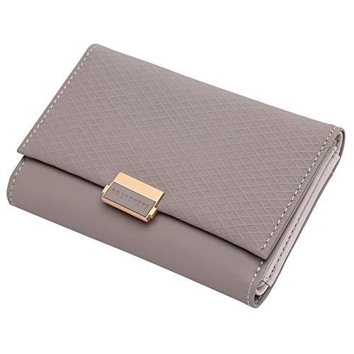 2019 Plaid Brieftasche Leder Brieftasche Reißverschluss Weibliche Damen Hot Change Frauen Kreditkarteninhaber Coin Medium Geldbörsen Für (Color : Grey) -