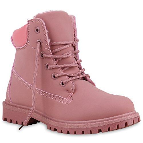 Warm Gefütterte Worker Boots Damen Outdoor Stiefeletten Robust Rosa