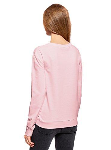 oodji Ultra Femme Sweat-shirt Basique en Coton Rose (4000N)