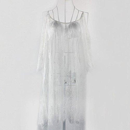 Kolylong Grande taille Floral Vintage Boho Hippie Gens Dentelle BrodéE Mini-Robe Crochet Blanc