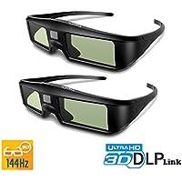 2 x Gafas 3D DLP-Link ExquizOn, 96-144Hz Gafas 3D Universal con Obturador Activo, Full HD 1080P, Compatible con todos Proyectores 3D DLP como Optoma/Acer/BenQ/ViewSonic/LG, Recargable para 60 horas de Uso