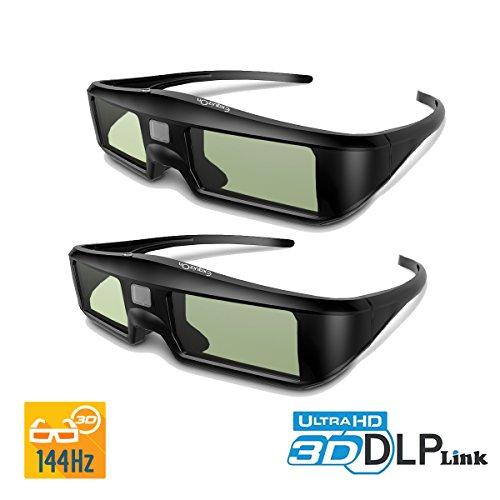 2 x DLP-Link 3D Brille Aktive Shutterbirlle, ExquizOn G06-DLP Wiederaufladbar für 3D DLP Projektor Beamer Optama Acer BenQ ViewSonic Dell Vivitek MITSUBISHI (Doppelpack)