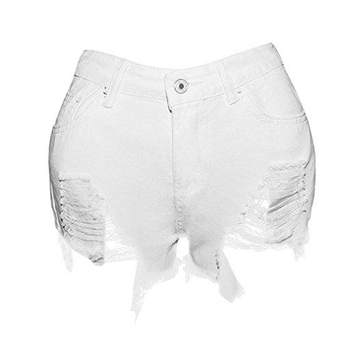 Zerstört Röhrenjeans (Mounter Frauen Damen Sexy Loch zerstört zerrissene Jeans Denim Shorts getragen lose Shorts Hose Hohe Taille Jeans Party Clubwear Fashion Casual Beach Pants, weiß, XL=UK/L=Waist:28.5~31+Hip:38~41.5)