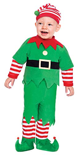 Baby Toddlers Childrens Boys Girls Cute Red Green Elf Santas Helper Festive Xmas Christmas Fancy Dress Costume Outfit (6-12 Months) (Outfit Green Santa)