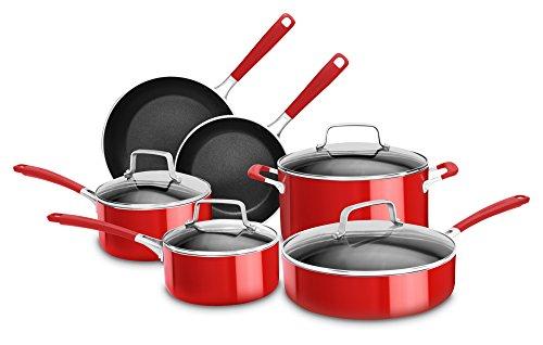 KitchenAid KC2AS10ER Nonstick 10-Piece Set-Empire, Aluminum, Red, L
