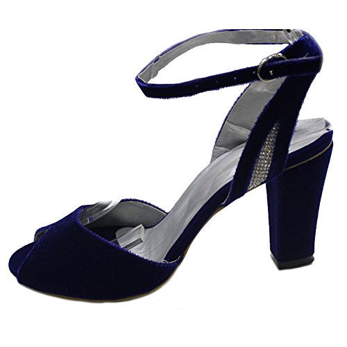 W & W Frauen Damen Abend Komfort Samt Peep Toe Hochzeit Sandale Blockabsatz Schuhe Größe (Nisha) Königsblau