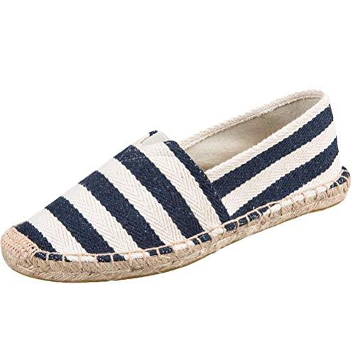 Minetom Espadrilles Mixte Unisexe Vintage Plat Slip-on Chaussures D'Été Homme Femme Mode Confort Antidérapant Rayé Lin Toile Cousue Loafers Bleu EU 39