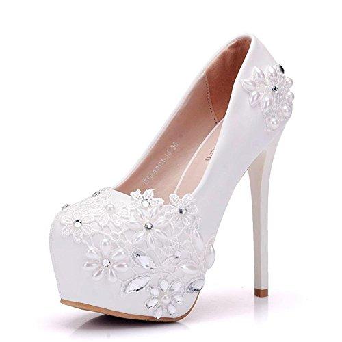Damen Hochzeit Braut Gericht Schuhe Weiß Kristall Strasssteine Hoch Absätze Spitze Plattform Flach Pumps Abschlussball Abend , Weiß , EUR 36/ UK 3.5-4