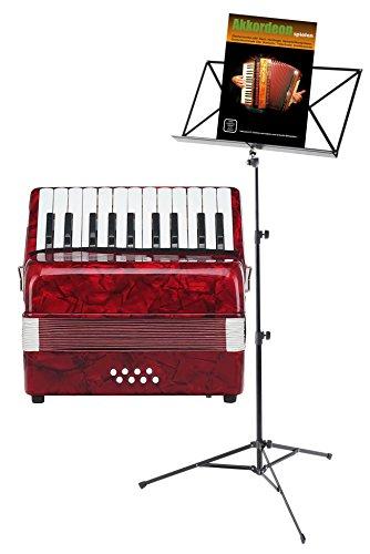 Classic Cantabile Secondo Junior 8-Bass Akkordeon SET inkl. Notenständer und Schule (22 Diskanttasten, 8-Basstasten, inkl. Tragerriemen, Gigbag, Noten) rot