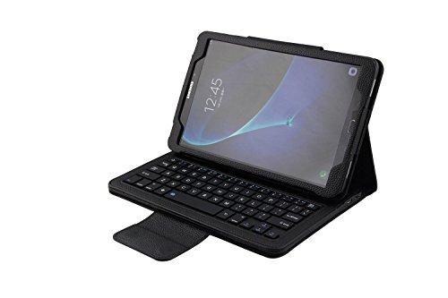 Efanty Teclado Bluetooth Funda para Samsung Galaxy SM-T580 / SM-T585, Protectora Plegable Magnético Leather Carcasa Flip Case Cover con Desmontable Teclado Bluetooth Inalámbrico - Negro