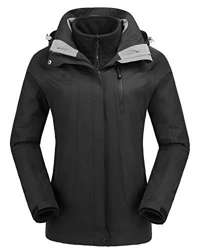CAMEL CROWN Damen Outdoor 3-in-1 Skijacke, Zweiteilige Winterjacke mit Fleecefutter, Windd