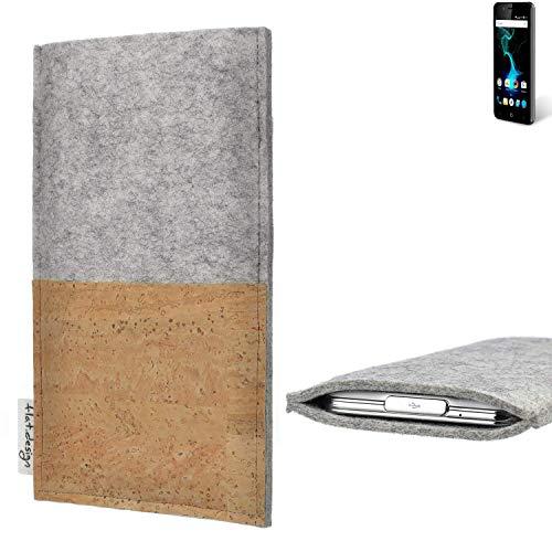 flat.design Handy Hülle Evora für Allview P6 Pro handgefertigte Handytasche Kork Filz Tasche Case fair grau