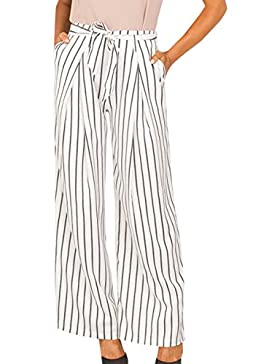 Legendaryman Mujer Casual Suelto Pierna Ancha Larga Pantalón de Playa Pants Moda Rayas Cintura Alta Pantalones...