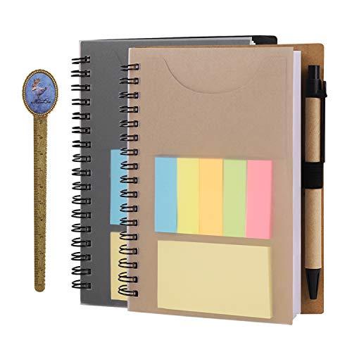 2 Stück Spiralblock liniert Collegeblock Verdickt Notizbuch Notizblock mit Spiralbingdung, enthält, Stift, Lesezeichen, Haftnotizen, Kleine Tagebuch, 12X16CM