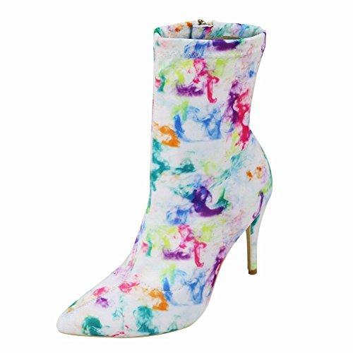 WYWQ Caricamenti del sistema sottili del tallone delle alte scarpe da donna Stiletto Mid-Calf Graffiti Colore chiuso a punta laterale 34-43 Custom , 43 , doodle 42