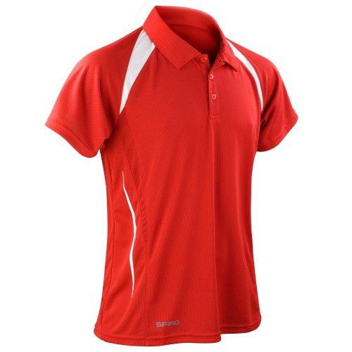 Spiro Herren Sport Polo Shirt Team Spirit Performance (Xlarge) (Rot/Weiß) -