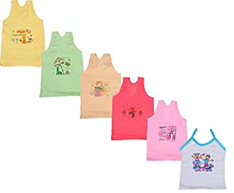 IndiWeaves Girls Pure Cotton Cartoon Print Slips/Vests (Pack of 6)_Multiple_4-6 Years