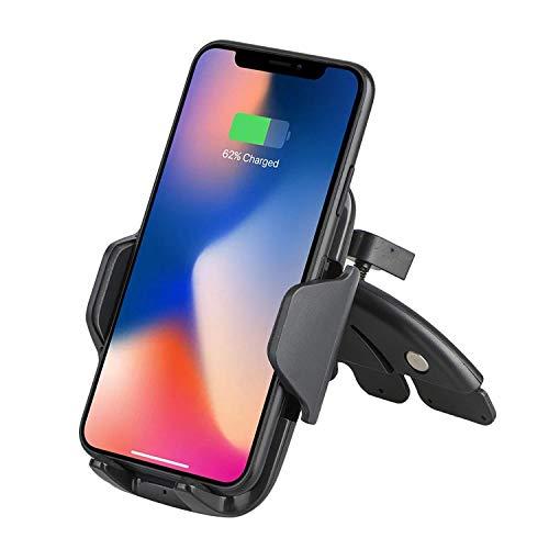 EEEKit Qi Caricabatteria da Auto per Auto CD, Supporto per Telefono, Caricatore rapido per Samsung Galaxy S9 / S9 Plus / S8, Nota 8, Carica Standard per iPhone X, 8/8 Plus e dispositivi abilitati Q
