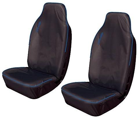 XtremeAuto Housses de siège avant imperméables pour voiture/camionnette Noir avec bordure bleue