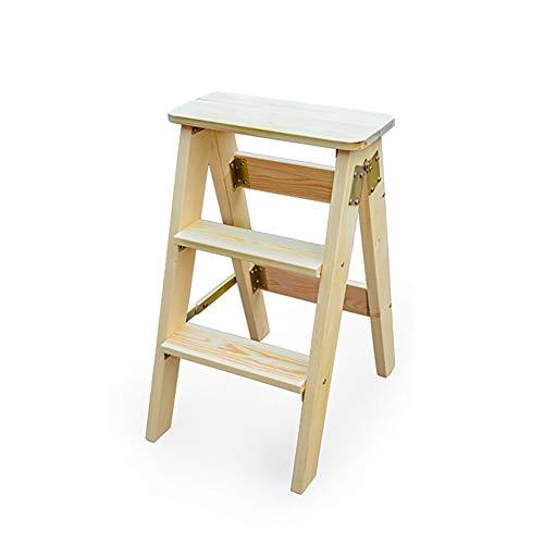 JiuErDP Ménage en bois tabouret pliant échelle de maison tabouret escabeau tabouret de levage chaise pliante tabouret multifonctionnel cuisine banc haut Escabeau (Couleur : Naturel)