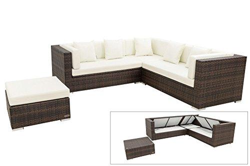 OUTFLEXX XXL Lounge Sofaset inkl. Hocker/Beistelltisch aus Polyrattan in braun marmoriert für 6...