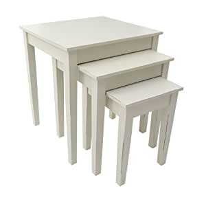 Premier Housewares 2403135 Chatelet Table Gigogne 3 Tables MDF Crème