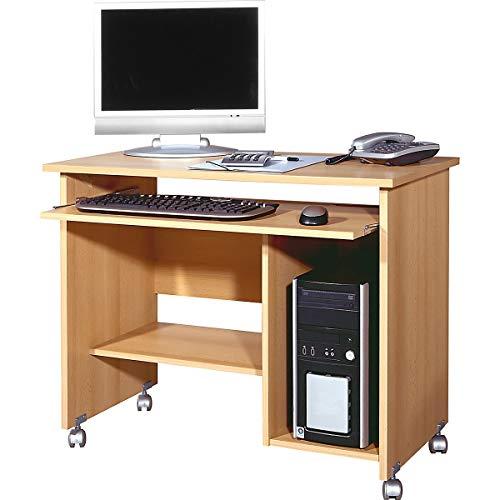 Certeo Computertisch in Buche | Arbeitstisch mit Platz für PC-Tower | Mit Tastaturauszug | HxBxT 72 x 90 x 48 cm | Bürotisch Tisch Schreibtisch