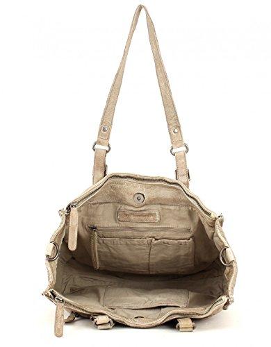 FREDsBRUDER Cut it Vintage 3D Handtasche Leder 35 cm snow beige