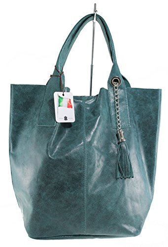 CTM Damen Schultertasche mit Griffen Semi-gloss, 39x36x20cm, 100% echtes Leder Made in Italy Grün