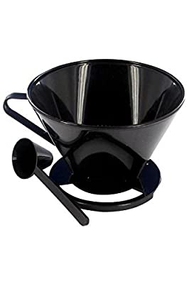 Unifit Pour Over Coffee Filter Cone with Measuring Spoon suitable for cups, serving jugs and travel mugs. Look through to avoid overspill.