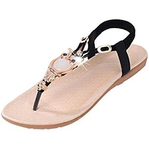 Calzado de mujer,Amlaiworld Diamantes de imitación Búho dulce zapatos de las sandalias del dedo del pie del clip Beach