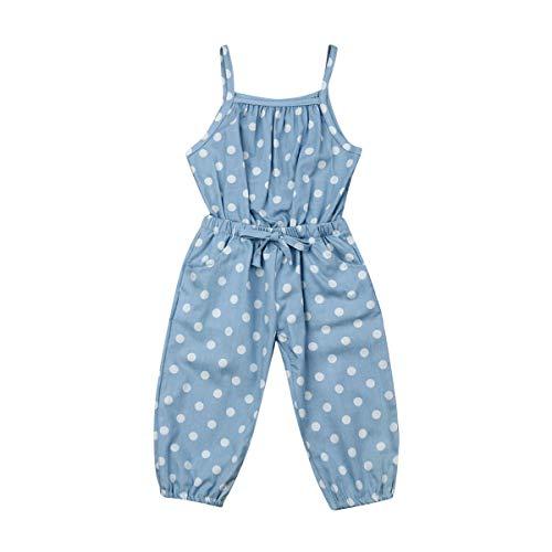 CIPOGL Baby Mädchen Wellen Punkt Bib Jeans Jumpsuit Overall Sommer Mädchen Ärmellos Strampler Playsuit Outfit Sommerkleidung (4-5 Jahre, Blau) Fleece-bib Overalls