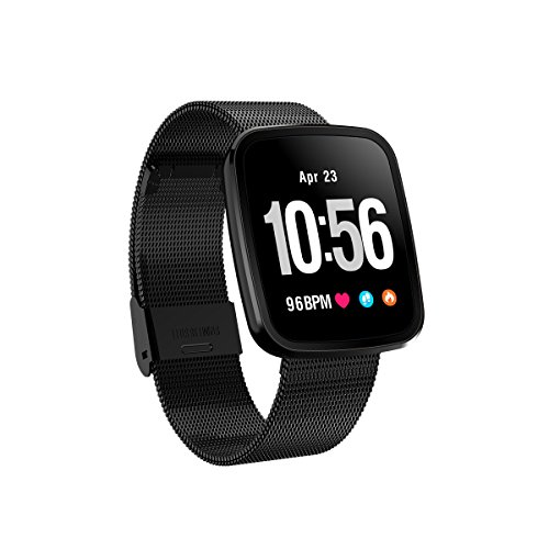 FromPRO V6HD-Bildschirm, Fitness Tracker, Smartwatch OLED Herzfrequenz Blutdruckmessgerät Smart Watch Sport Smart Watch Armband, Black Steel