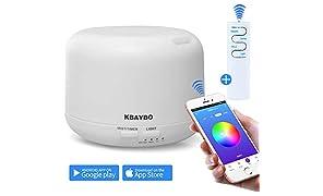 KBAYBO Smart APP/Wi-Fi e telecomando Diffusore per olio essenziale Diffusore per aromaterapia Umidificatori ad ultrasuoni (Bianca, 300ml)