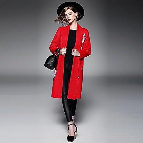 ZH AH Pesados ??retro damas bordados solapa de mujeres de la capa del suéter de manga larga , red ,
