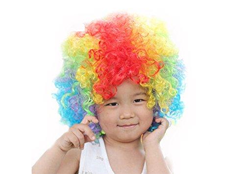 DELEY Kind Halloween Kostüm Bunt Lockig Afro Clown Perücke Party Perücke Zubehör Rainbow