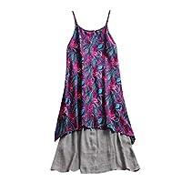 Dress for Women, Botrong Plus Size Linen Sleeveless Sling Kaftan Baggy Print Long Maxi Dress Large Grey