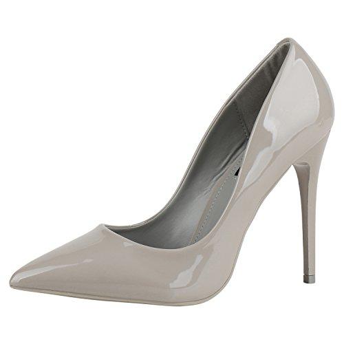 napoli-fashion Spitze Damen Pumps High Heels Lack Stilettos Metallic Party Abschlussball Hochzeit Damen Pumps Grau Grigio 37 Jennika