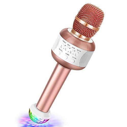 YOTTO Bluetooth Karaoke-Funkmikrofon Tragbares Handheld-Karaoke-Mikrofon, 5W-Lautsprecher, kostenloses USB-Disco-Licht für Party, Geburtstag, Kindergeschenk, kompatibel mit IOS & Android