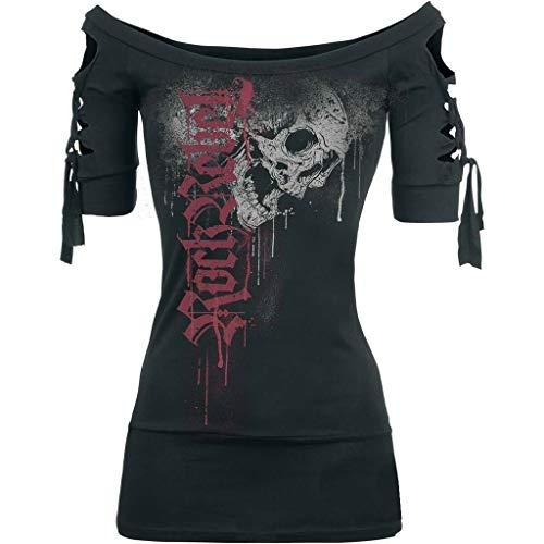 c262de3632c686 Eaylis T-Shirt Imprimé Noir Et Blanc Mode Femme Tête De Mort Fendue Grand  Taille en Dentelle,Blouse Manches Courtes Chic Unique Haut Casual