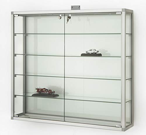 Mhn - vetrina pensile in vetro con serratura, grande, in alluminio, per collezionisti larghezza 100 cm, altezza 90 cm, profilo quadrato a 2 ante