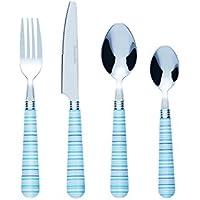 Bon Halter Juego de cubertería de 24 piezas de acero inoxidable, raya azul
